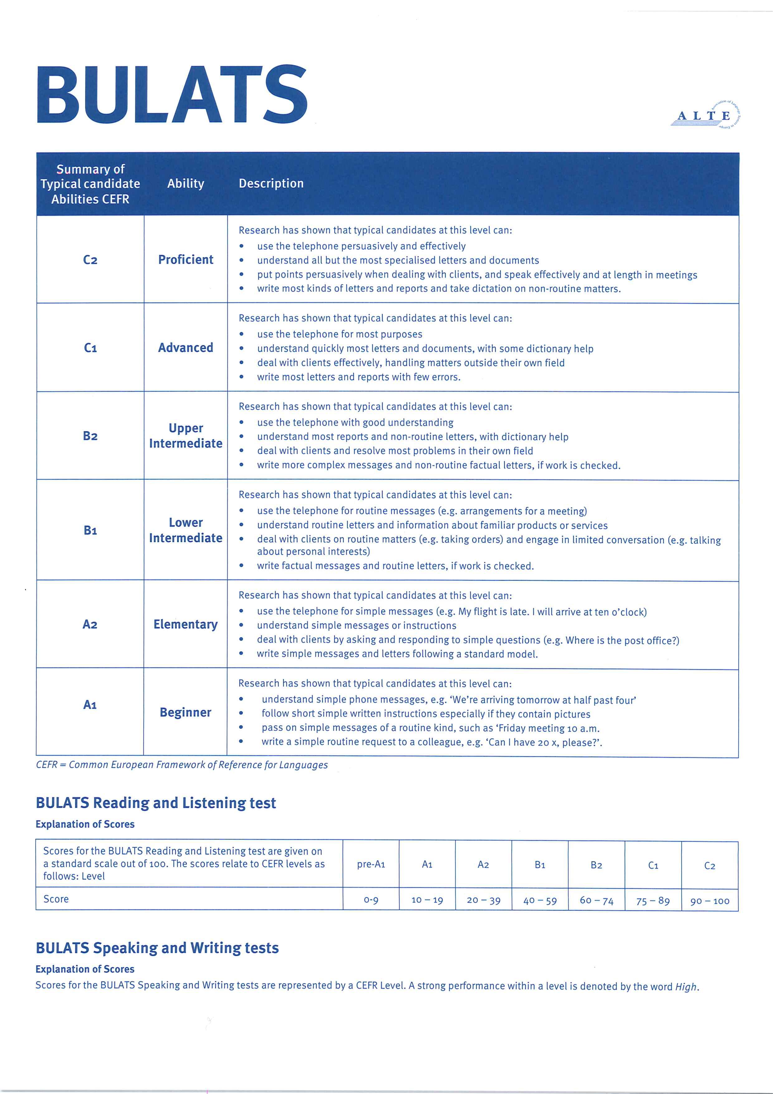bulats anglais  pr u00e9paration certification de l u2019universit u00e9